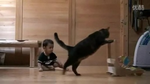 猫都会教宝宝推车了