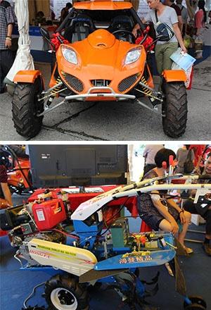 高清:农民喜迎农业展 炫酷机车领跑现代化农业