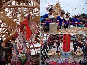 高清:三江县举行鼓楼上梁祭祀仪式 钉银元抢喜糖