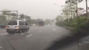 """【关注台风""""妮妲""""】南宁市白沙大道 机动车因雨大都打起双闪"""