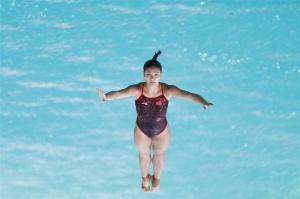 高清:何姿亮相里约奥运会跳水场