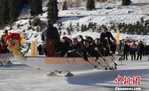 22支代表队新疆天山天池冰上赛龙舟