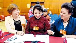 住桂全国政协委员与住藏全国政协委员在一起分组讨论政协常委会工作报告和提案工作情况报告