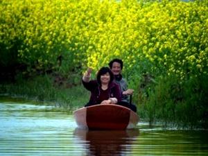 江西南昌乡村油菜花黄 游客乘船沿河欣赏