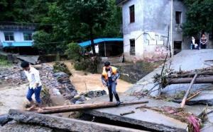 洪灾致江西修水基础设施损毁 学生爬梯上学(图)