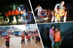 强降雨突袭宜州 武警官兵洪水中勇救50余人(图)