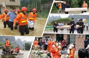 河池多地遭遇洪灾 2000余名民警全力抗洪救灾(图)