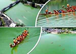 """航拍:龙胜举办龙舟竞赛 尽享盛夏的水上""""狂欢"""""""