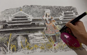 高清:85后画家以钢笔作画 浓郁侗乡风情跃然纸上