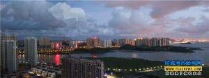 防城港北部湾大道沿线高楼林立 流光溢彩(图)