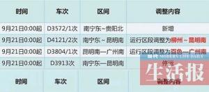 宁铁实行新列车运行图 南宁-北海五趟列车将停运