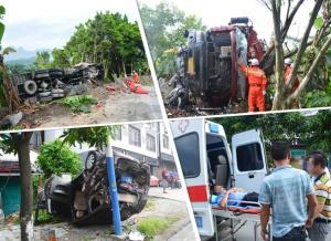环江:大货车失控撞飞面包车 造成1人死亡4人受伤