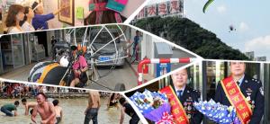 25日焦点图:柳州一迷你飞机开进加油站