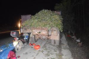 摩托车撞停靠路边农用车致两人死亡 事发玉博公路