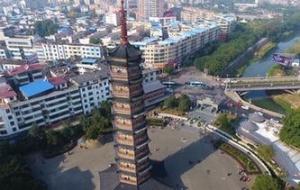 航拍江西信丰大圣寺塔 九层十八级造型雄伟
