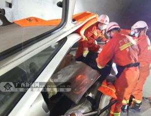 河池开展隧道交通事故救援跨区域综合演练(图)