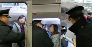 一女子强行阻拦高铁发车 已交由警方处理