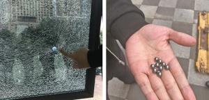 """不明钢珠袭来 防弹玻璃被打成""""蛛网"""""""