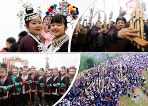 """【新春走基层】三江:数千群众""""坡会""""闹新春(图)"""