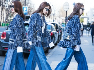 Angelababy现身巴黎街头演绎酷女孩