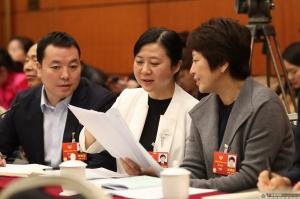 住桂全国政协委员韦震玲(中)和同组的全国政协委员继续围绕本小组关注的热点问题议政建言