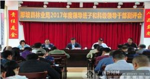 那坡县林业局召开2017年度干部考核测评会