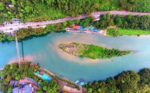 春到壮乡!航拍广西河池龙洲岛(组图)