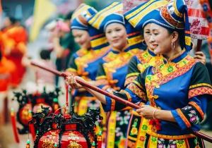第九届阳圩山歌节开幕 精美民风扮演吸引来宾(图)