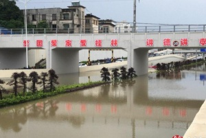 高清:桂林强降雨致多路段内涝 漓江水位迅速上涨