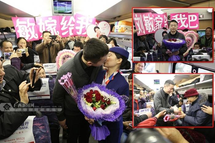 高清:南宁小伙动车上向美女动姐求婚抱得美人