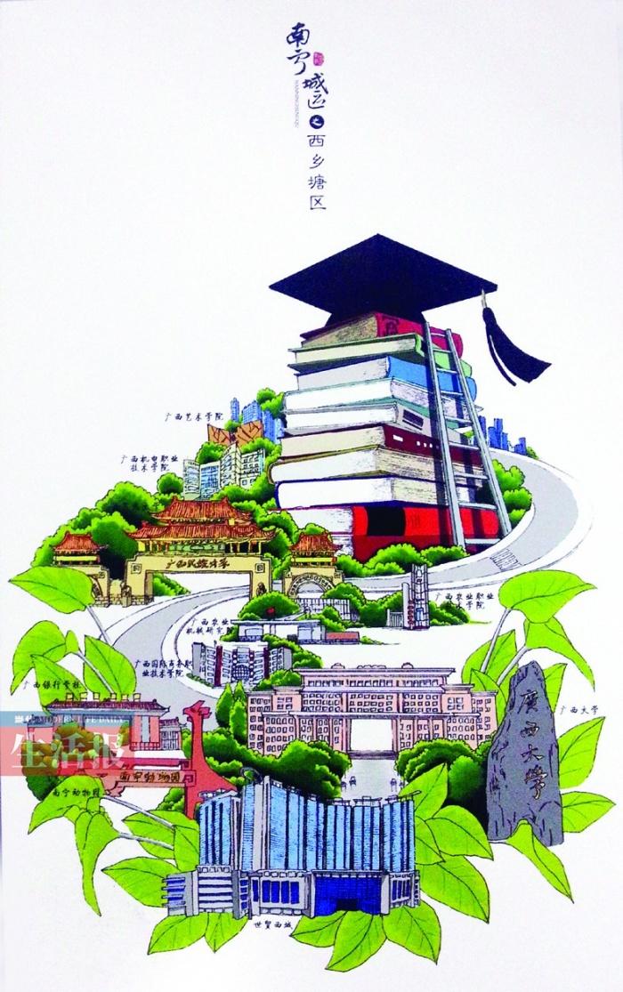 """南宁城区手绘明信片"""",""""邹猫""""就是这套在网上大火的明信片的设计者邹庆"""