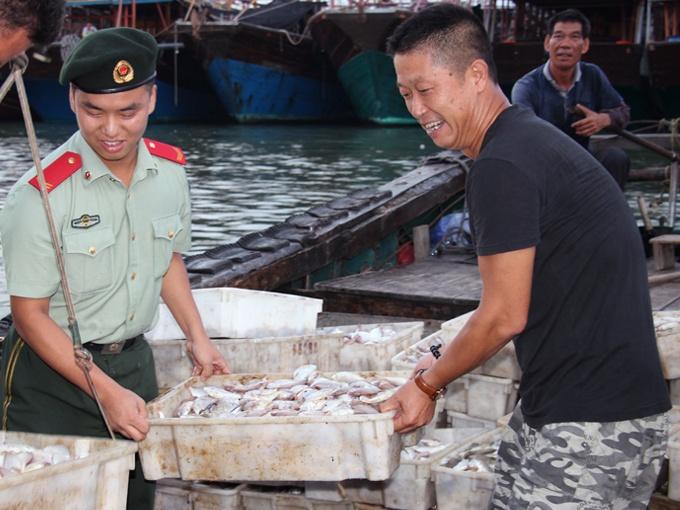 """北海:渔船开渔归来 新鲜鱼虾""""跳""""上市(组图)"""