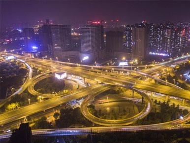 航拍济南立交桥夜景