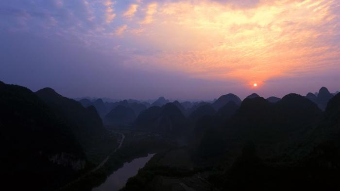 高清组图:宜州下枧河畔夕阳美