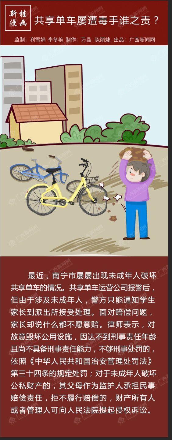 新桂漫画:共享单车屡遭毒手谁之责?