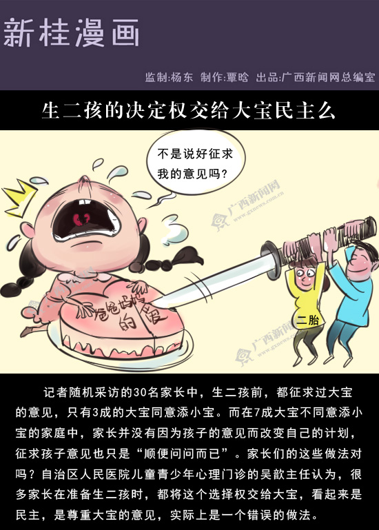 [新桂漫画]生二孩的决定权交给大宝民主么