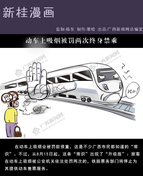 [新桂漫画]动车上吸烟被罚两次终身禁乘