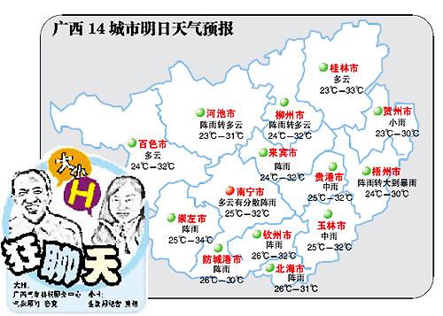 广西14城市14日天气预报 气温渐升天气渐热多饮水