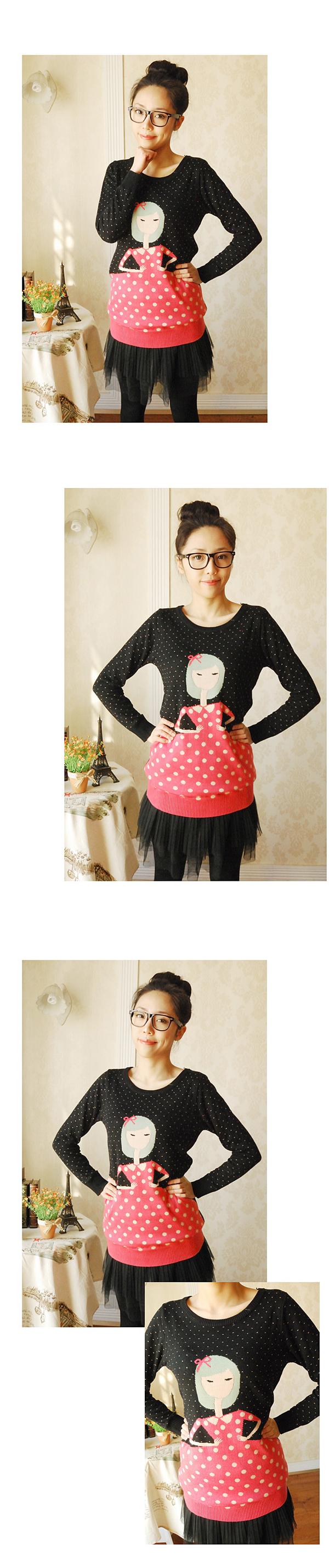 韩版双层小娃娃圆领中长款毛衣针织衫