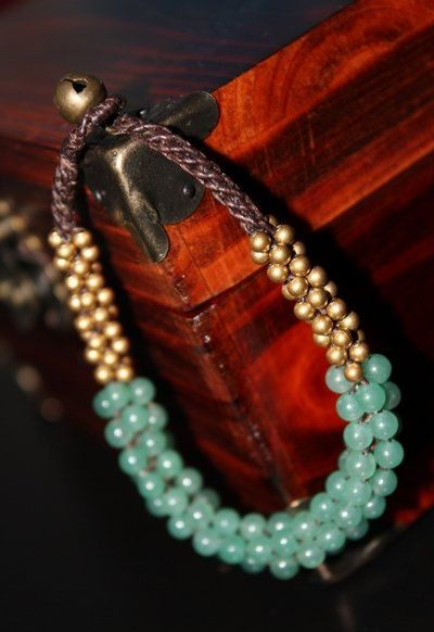 泰式天然松石铜珠手链