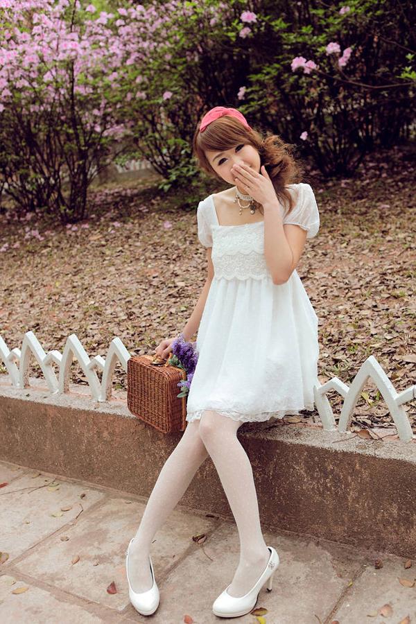 甜美两件套雪纺连衣裙