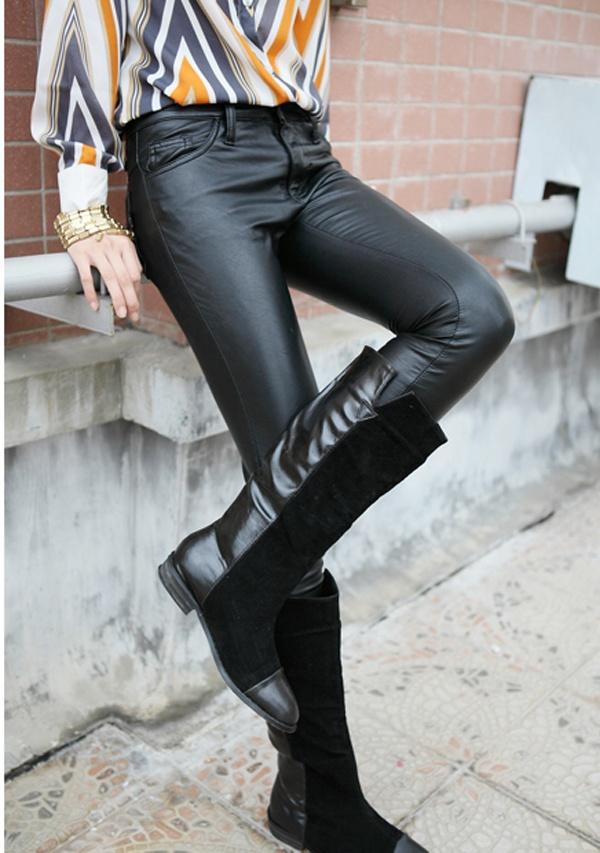 欧美风低腰修身皮裤
