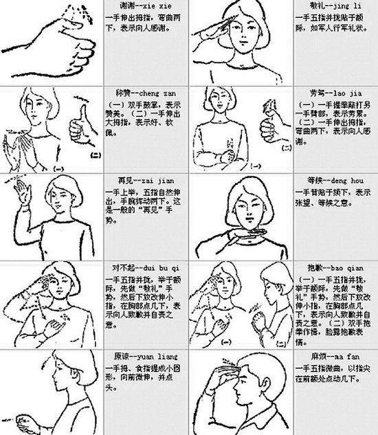 看到盲聋哑儿童求助手语 请及时帮帮忙他们(图)