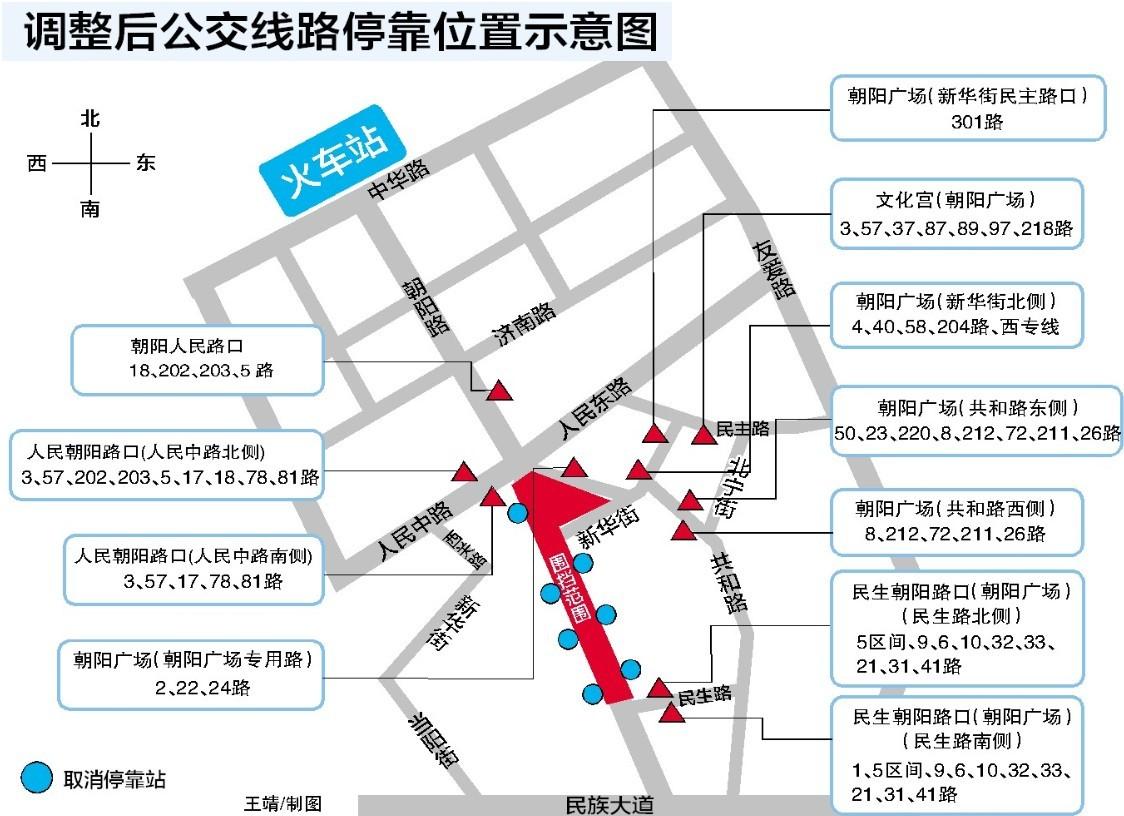 南宁朝阳广场公交线路大调整