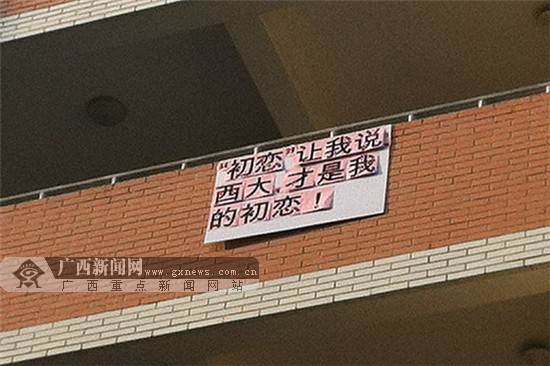 """初恋让我说 大学生宿舍楼外贴标语""""帮""""学校上头条图片"""