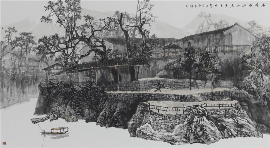 广西的风景素描画