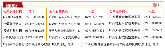 广西人力资源和社会保障厅便民服务热线