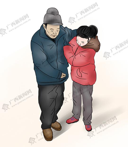[新桂漫画]贺州女孩陈春林带病父去求学