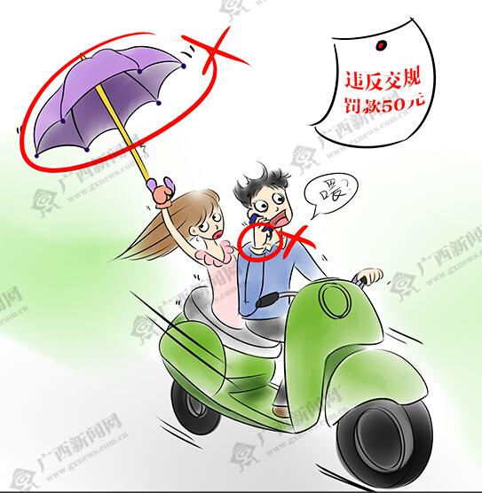 [新桂漫画]南宁:骑电动车打电话、撑雨伞罚50元
