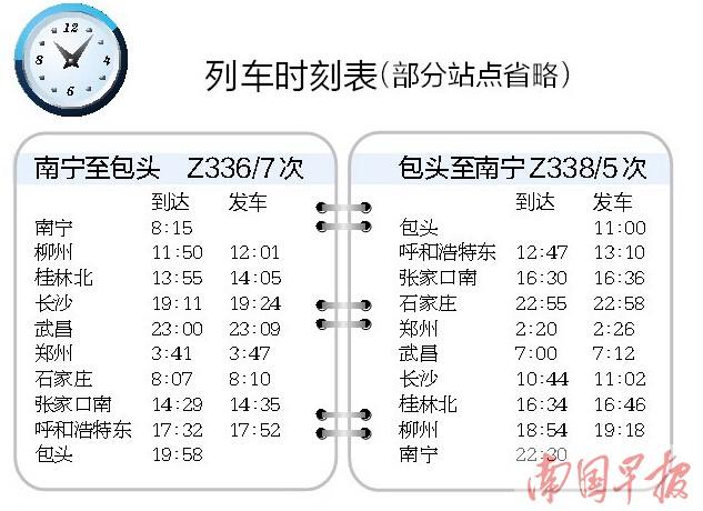 南宁至包头首开直达特快列车 全程近36小时(图)
